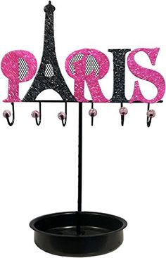 Looking for a pink jewelry holder with a Paris theme?? This one is super cute with the Eiffel Tower..