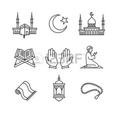 Buy Muslim Islam Prayer and Ramadan Kareem by IconicBestiary on GraphicRiver. Muslim islam prayer and ramadan kareem thin line art icons set. Modern black symbols isolated on white for infographi. Eid Crafts, Ramadan Crafts, Ramadan Activities, Islam For Kids, Religion, Art Icon, Bullet Journal Ideas Pages, Islamic Inspirational Quotes, Islamic Pictures