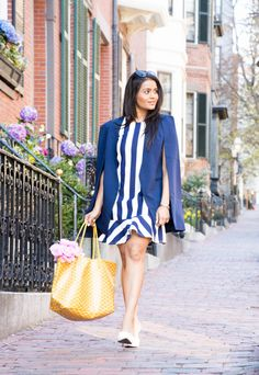 Cape Blazer, striped dress, asos, lavish alice, goyard, peonies, beacon hill, boston, cobbled stone path, boston photoshoot, photoshoot ideas, ootd