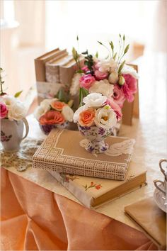 love the decor! <3 lace covered wrapped books
