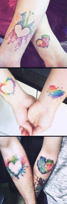 Matching Watercolor Heart Tattoo Ideas - Small Rainbow Soul Wrist Tatouage for Couples, Bestfriends, Sister for 2 - www.MyBodiArt.com