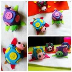 Egg Carton Turtle Craft for kids Super cute! Wonder if I could come up with a pattern for the shell and create turtle pin cushions that look like these!