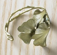 Ginkgo Leaf Cuff Bracelet, cast in bronze, $105