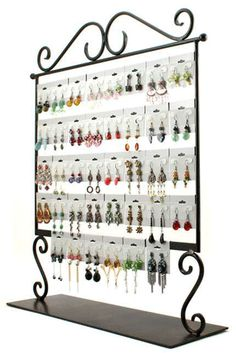 Cards, hooks and earring display Earring Storage, Earring Display, Jewellery Storage, Jewelry Organization, Jewellery Displays, Diy Earring Cards, Craft Fair Displays, Display Ideas, Booth Ideas