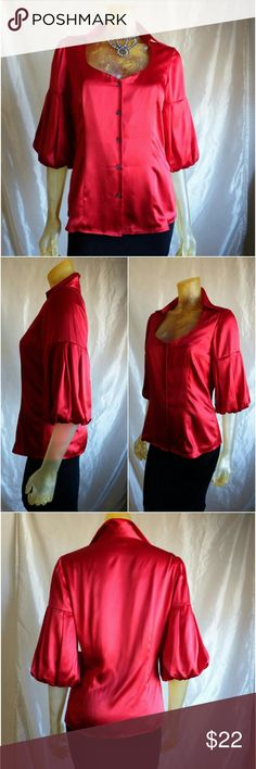"Kenneth Cole- 100% Silk, Poet's Sleeve Blouse Beautiful and sophisticated red silk blouse with rounded sweetheart neckline, poet's sleeves, button front closure and princess seams for a figure flattering fit.  25"" long from shoulder to hem. 36"" bust. New with tags, never worn. Kenneth Cole Reaction Tops Blouses"