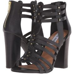 Steve Madden Sofiia (Black Leather) Women's 1-2 inch heel Shoes ($88) ❤ liked on Polyvore featuring shoes, sandals, black, black leather shoes, greek sandals, black leather sandals, leather sandals and leather gladiator sandals