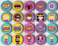 Superhéroe niña Cupcake Toppers superhéroe niña por KidzParty