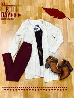"""""""My Perfect Day Looks Like This..."""" Our dashing #ootd  """"Snuggle Up"""" Cardigan $58.00 http://www.smalltowngypsy.com/catalog.php?item=4631... See More"""