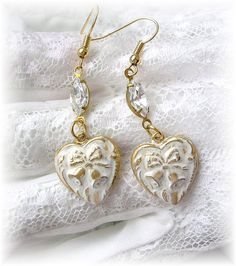 Heart Earrings Dangles, Wedding Bells Bridal Earrings, White Patina Jewelry, Shabby Chic, Vintage Style Heart Charms, Clear Crystal Drops