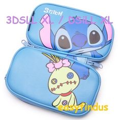 NINTENDO DSI XL LL 3DS XL LL CASE COVER Disney Lilo & Stitch Pouch Bag Blue new