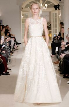 3e8471528b Oleg Cassini Fall 2018 bridal collection spring 2019 wedding dress lace  applique pockets illusion Bridal Gowns