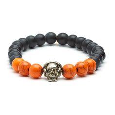Matte Onyx Skull Bracelet // Black + Orange