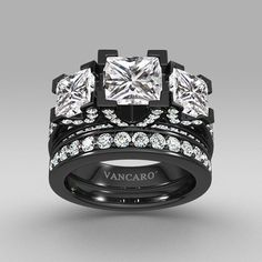 Black Three-stone Princess Cut Women's Wedding Ring Set with White Cubic Zirconia