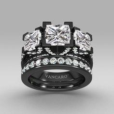 Black Three-stone Princess Cut Women's Wedding Ring Set with White Cubic Zirconia