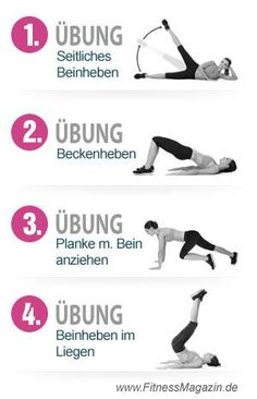 4 Uebungen Bauch Beine Po. Übungen um die Problemzonen zu straffen und in Form…