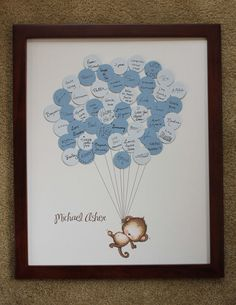 Could make this with thumbprint of guests and let them write their name Baby+Shower+GuestbookMonkey+with+Stripes+by+SayAnythingDesign,+$39.00