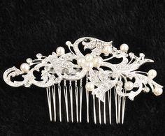 Noble New Silver Rhinestone Bridal Wedding Flower Pearls Headband Hair Clip Comb #Unbranded - ebay - $3.56
