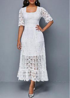 Short Sleeve Square Collar White Lace Dress Women Clothes For Cheap, Collections, Styles Perfectly Fit You, Never Miss It! Club Party Dresses, Spandex Dress, Women's Fashion Dresses, Dress Outfits, Fashion Clothes, Dress Shoes, Shoes Heels, Sheath Dress, Dresses Online