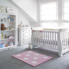 Boori Nursery Furniture In Soft White includes Boori Sleigh Cot, Large Bookcase, 4 Drawer Chest, Pelmet & Change Tray  All available in-store