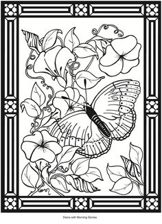 butterfly stained glass adult coloring pages by joenay