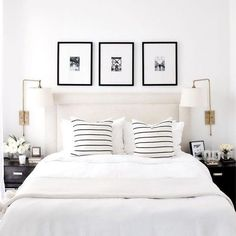 A short break from Christmas themed posts to design crush on this all white bedroom by proving that white is anything but boring! - Architecture and Home Decor - Bedroom - Bathroom - Kitchen And Living Room Interior Design Decorating Ideas - Home Interior, Interior Design, Interior Office, Interior Plants, Modern Interior, Home Decor Bedroom, Bedroom Sconces, White Bedroom Decor, Bedroom Frames