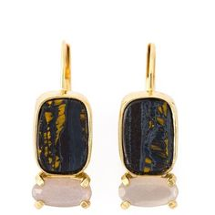 Wouters & Hendrix Playfully Precious Tiger Iron and Moonstone Earrings (340 CAD) ❤ liked on Polyvore featuring jewelry, earrings, metallic, wouters & hendrix, tiger jewelry, fine jewelry, moonstone earrings and french hook earrings