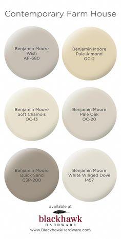 Paint Colors for Modern Farm House Interior Design Contemporary farm house interior paint colors by Benjamin Moore Farmhouse Paint Colors, Paint Colors For Home, Cream Paint Colors, Basement Paint Colors, Modern Paint Colors, Greige Paint Colors, Wall Paint Colours, Outside House Paint Colors, Off White Paint Colors