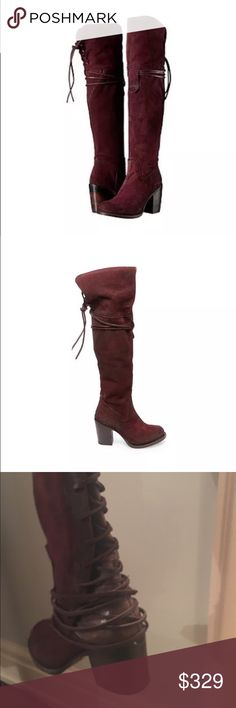Steve Madden freebird wine otk boots 9 free people Steve Madden freebird free people suede wine otk boots size 9. New!! Steve Madden Shoes Lace Up Boots