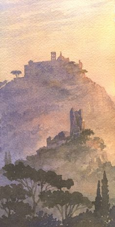 Monte Casino, watercolor sketchbook - William Hook (links to his gallery - beautiful landscape and architectural paintings)