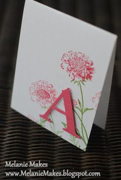 handmade monogram card from Melanie Makes: May 2013 ... clean and simple stamped flowers with die cut initial popped on top ... luv that the ink and paper matches ... corner placement for balance ... Stampin' Up!