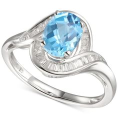 ) Swirl Ring in White Gold A gleaming wide gold setting shows of the beauty of blue topaz and diamond baguettes in this elegant statement ring. Gemstone Jewelry, Jewelry Rings, Jewelry Watches, Fine Jewelry, Baguette Diamond, Blue Topaz Ring, Statement Rings, Heart Ring, White Gold