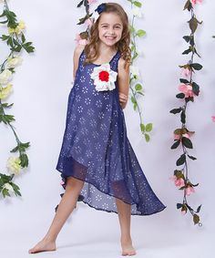 Another great find on #zulily! Navy Cutout Flower Chiffon Hi-Low Dress - Girls by Mia Belle Baby #zulilyfinds
