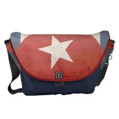 Vintage Cuban Flag Large Messenger Bag
