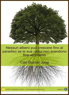 Nessun albero può crescere fino al paradiso se le sue radici non scendono fino all'inferno. Carl Gustav Jung Words Quotes, Art Quotes, Carl Jung Quotes, Gustav Jung, Psychology Quotes, Motto, Don't Forget, Mindfulness, Wisdom