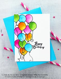 Love balloons. one-layer card showcases a lot of them, colored with watercolors...