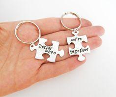 2 Hand stamped puzzle piece  keychains