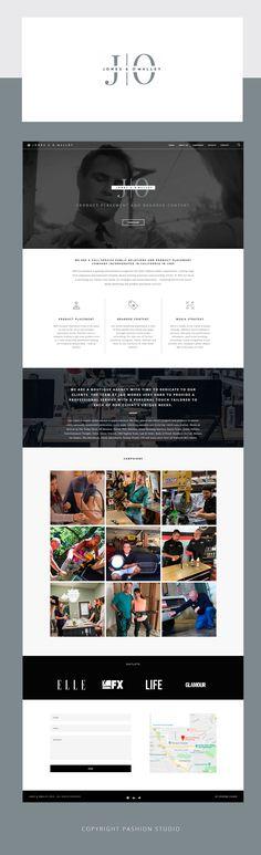 Web design development for Los Angeles PR and product placement studio | Criação de logo e desenvolvimento de site para Jones & O'malley by Pashion Studio