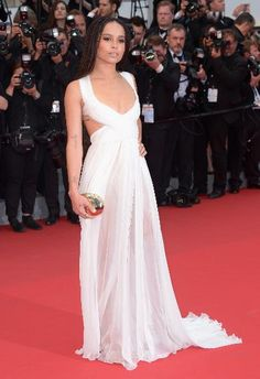"""From the Met Ball, to a """"Mad Max"""" premiere, then Dior's Cruise show, and now Cannes, Zoë Kravitz has had a fabulously fashion-filled past two weeks. Kravitz, who's in the movie and plays Toast the Knowing, was a vision in a white Valentino gown."""