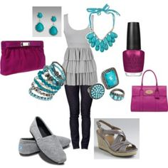 Gray and Turquoise with a touch of purple