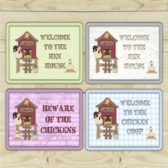 Chicken custom-made signs for you to personalise.