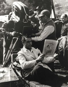"Cary Grant on set of ""Mr. Blandings ..."" flick. Not a fan of the flick, but Cary always makes the material a bit better."