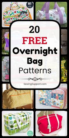 Bag Patterns to sew. 20 free overnight, travel, and weekender bag sewing patterns, tutorials, and diy projects. Sew large overnight travel bags that can also be used as duffle tote bags for school… Bag Patterns To Sew, Sewing Patterns Free, Free Sewing, Sewing Tutorials, Sewing Projects, Diy Projects, Tutorial Sewing, Crochet Projects, Free Pattern
