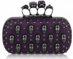 Purpurowa szkatułka z czaszkami i ćwiekami Coin Purse, Lunch Box, Skull Rings, Clutch Bag, Shopping, Wedding Ideas, Amazon, Purple, Houses