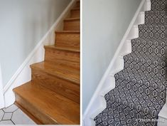 How to Install a Stair Runner: Step-by-Step Tutorial + Video - How to Install a Stair Runner – See the BEFORE and AFTER bare wood stairs and painted stairs with - # Stairs And Staircase, Staircase Makeover, Carpet Stairs, Staircase Design, Spiral Staircases, Floating Stairs, Floating Shelves, Painted Wood Stairs, Stair Runner Installation