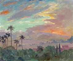 Sunset Over the Atlas Mountains  1935 in Marrakech By Winston Churchill