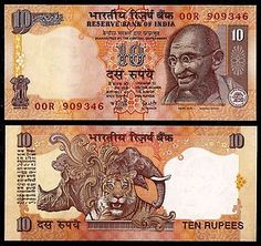 India 10 Rupees Ghandi Foreign Paper Money Banknote World Currency | eBay