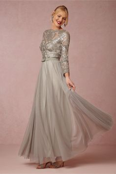 Silver long sleeve gown for mother of the bride or mother of the groom   'Lucille Dress' from BHLDN @BHLDN