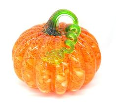 """NEW Hand Blown Glass 7"""" Orange Mosaic Pumpkin Fall Decor for every room in your home."""