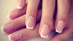 Funky French Friday! We love these natural French nails with Swarovski crystals perfect bridal nails #FrenchManicure