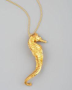 Devon Leigh Golden Seahorse Necklace $465, neimanmarcus